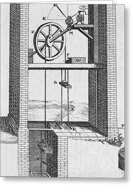 Violate Greeting Cards - Water Raising Engine, 18th Century Greeting Card by Middle Temple Library