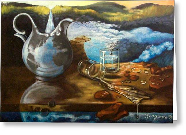 Surreal Landscape Drawings Greeting Cards - Water Recycling Greeting Card by Tom Forgione