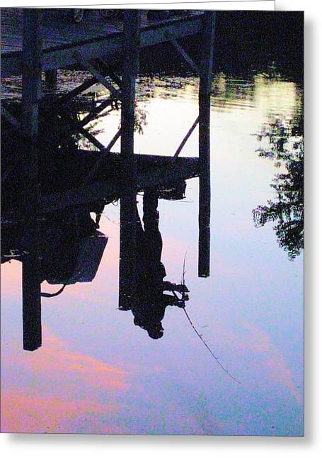 Reflections Of Sky In Water Greeting Cards - Water Reflection of a Fisherman Greeting Card by Judy Via-Wolff