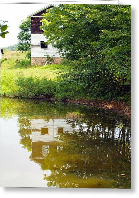 Log Cabins Framed Prints Greeting Cards - Water Reflections Greeting Card by Robert Margetts