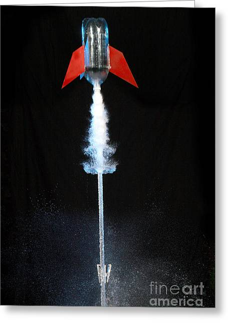 Bottle Rockets Greeting Cards - Water Rocket Greeting Card by Ted Kinsman