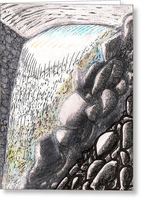 Hike Drawings Greeting Cards - Mountain Spring Falls Monterey Ma Greeting Card by Al Goldfarb