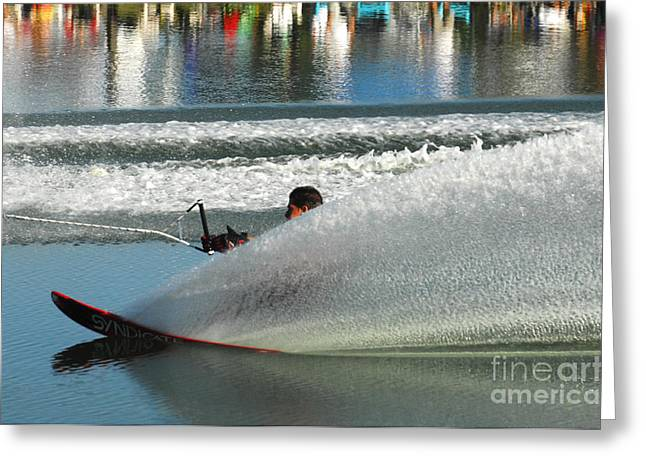 Slalom Skiing Greeting Cards - Water Skiing Magic of Water 17 Greeting Card by Bob Christopher
