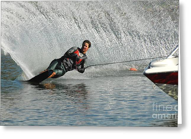 Slalom Skiing Greeting Cards - Water Skiing Magic of Water 19 Greeting Card by Bob Christopher