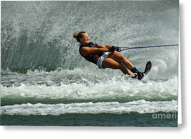Water Skiing Magic Of Water 2 Greeting Card by Bob Christopher