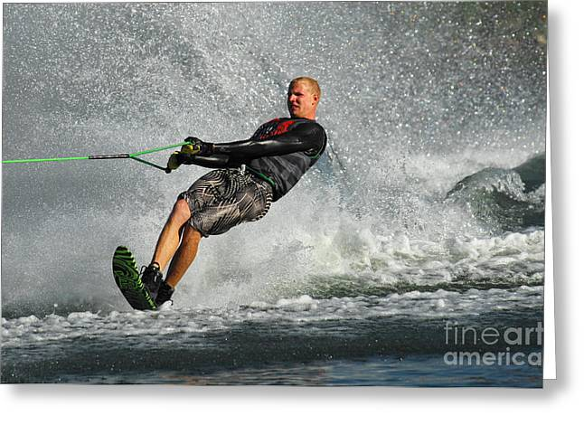 Slalom Skiing Greeting Cards - Water Skiing Magic of Water 20 Greeting Card by Bob Christopher