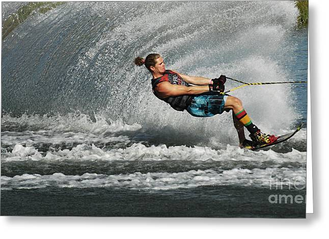 Slalom Skiing Greeting Cards - Water Skiing Magic of Water 23 Greeting Card by Bob Christopher