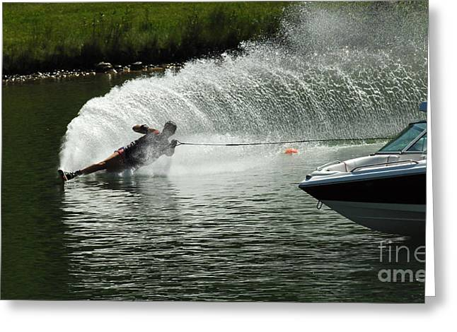 Slalom Skiing Greeting Cards - Water Skiing Magic of Water 25 Greeting Card by Bob Christopher