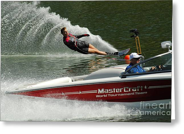 Slalom Skiing Greeting Cards - Water Skiing Magic of Water 26 Greeting Card by Bob Christopher