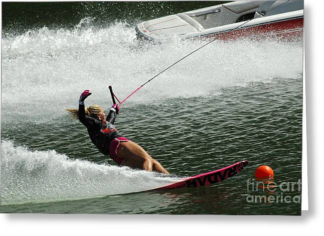 Slalom Skiing Greeting Cards - Water Skiing Magic of Water 28 Greeting Card by Bob Christopher