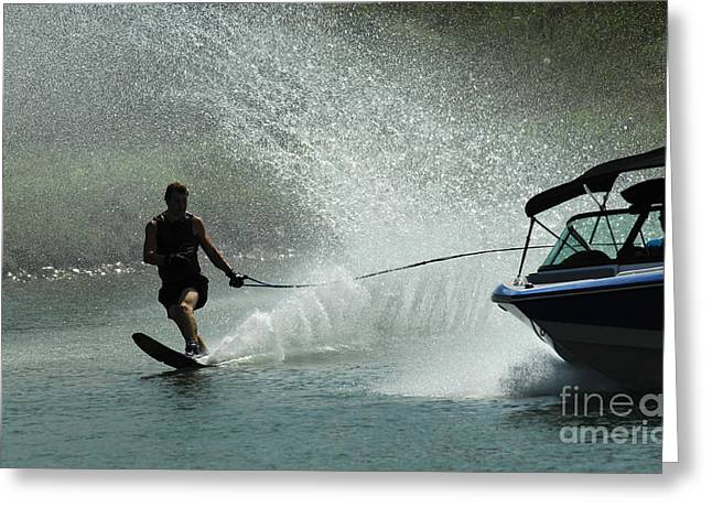 Slalom Skiing Greeting Cards - Water Skiing Magic of Water 30 Greeting Card by Bob Christopher