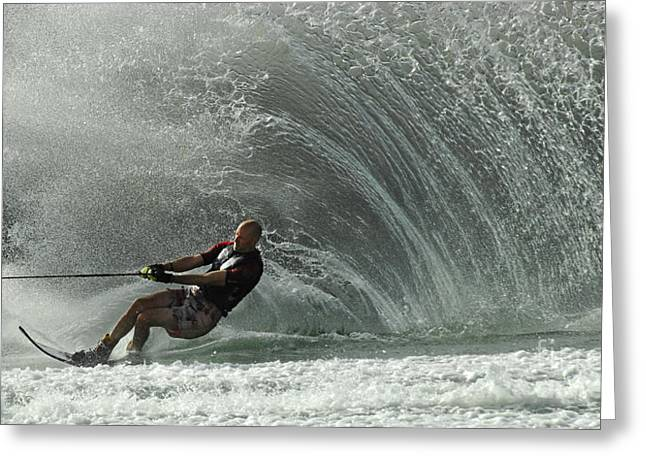 Slalom Skiing Greeting Cards - Water Skiing Magic of Water 31 Greeting Card by Bob Christopher