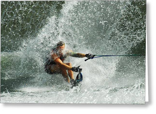 Slalom Skiing Greeting Cards - Water Skiing Magic of Water 34 Greeting Card by Bob Christopher