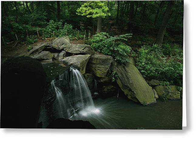 Park Scene Greeting Cards - Water Splashes Over A Waterfall Greeting Card by Melissa Farlow