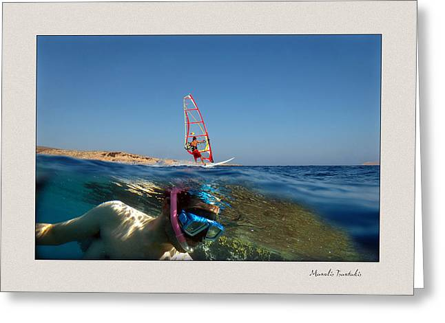 Wind Surfing Art Greeting Cards - Water sports Greeting Card by Manolis Tsantakis