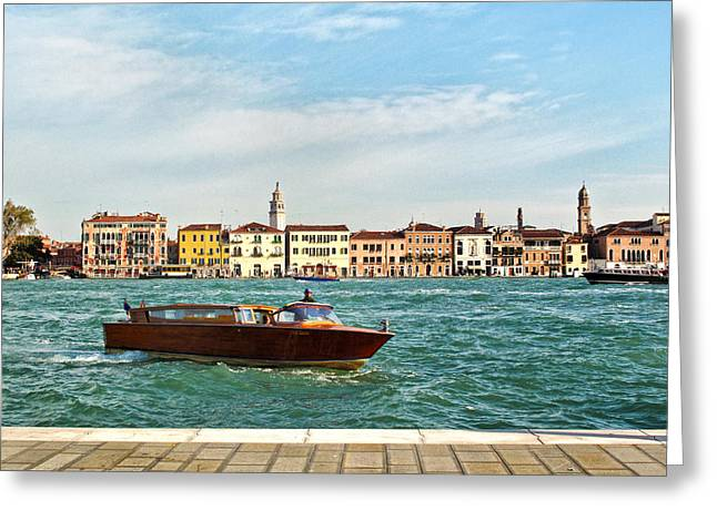 Water Taxi Greeting Cards - Water Taxi On The Grand Canal In Venice Greeting Card by Linda Pulvermacher