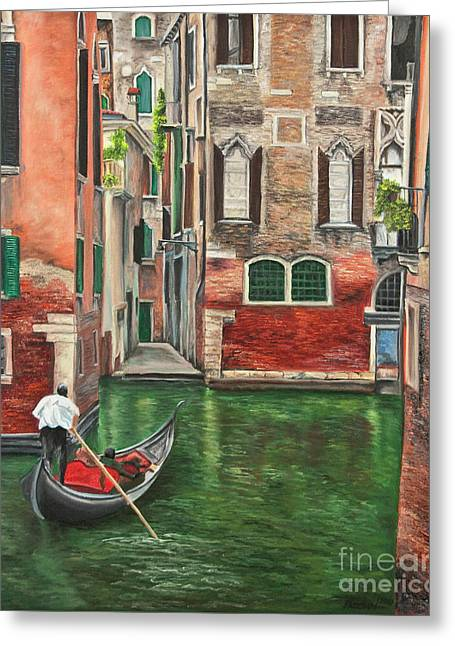 Italian Seascape Greeting Cards - Water Taxi On Venice Side Canal Greeting Card by Charlotte Blanchard
