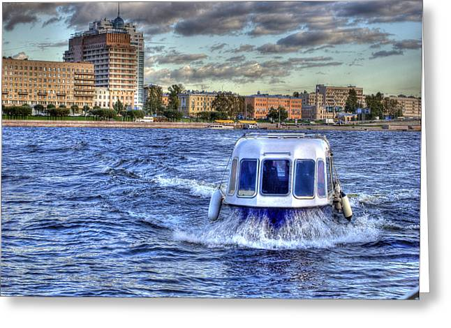 Water Taxi Greeting Cards - WATER TAXI. St Petersburg. Russia Greeting Card by Juli Scalzi