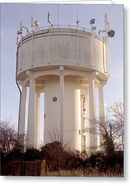 Technological Communication Greeting Cards - Water Tower Greeting Card by Victor De Schwanberg