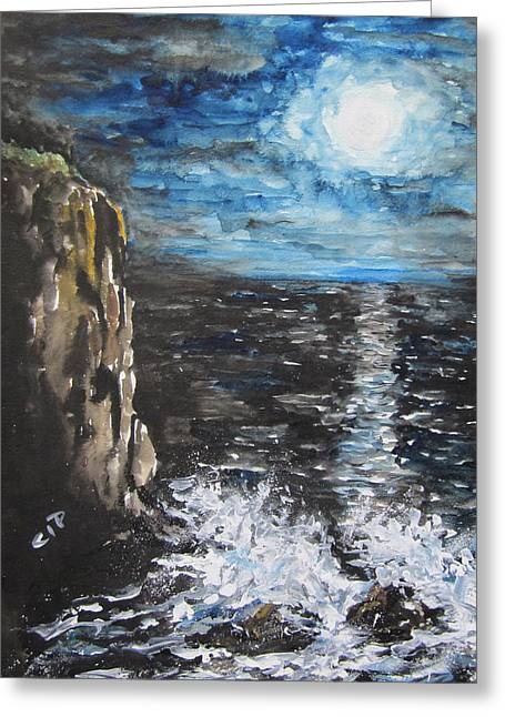 Sea Moon Full Moon Greeting Cards - Water Under the Moonligt Greeting Card by Cheryl Pettigrew
