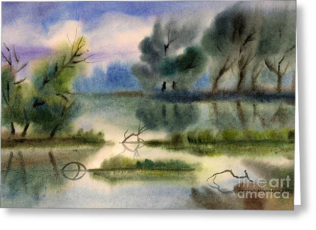 Haze Pastels Greeting Cards - Water view landscape Greeting Card by Cristina Movileanu
