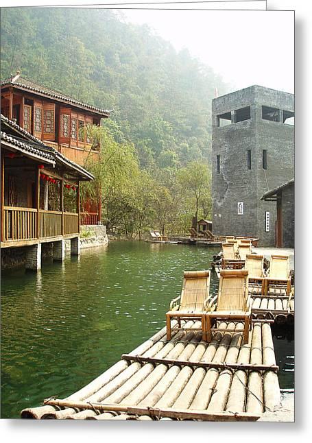 Jennifer Lam Greeting Cards - Water Village Greeting Card by Jennifer Lam