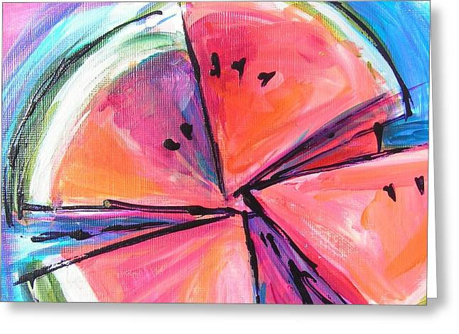 Watermelon Greeting Cards - Water Whirled Greeting Card by Judy  Rogan