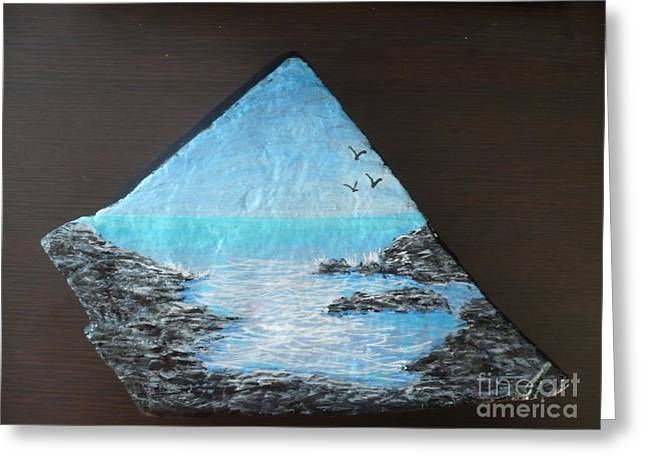 Calm Sculptures Greeting Cards - Water With Rocks Greeting Card by Monika Dickson-Shepherdson
