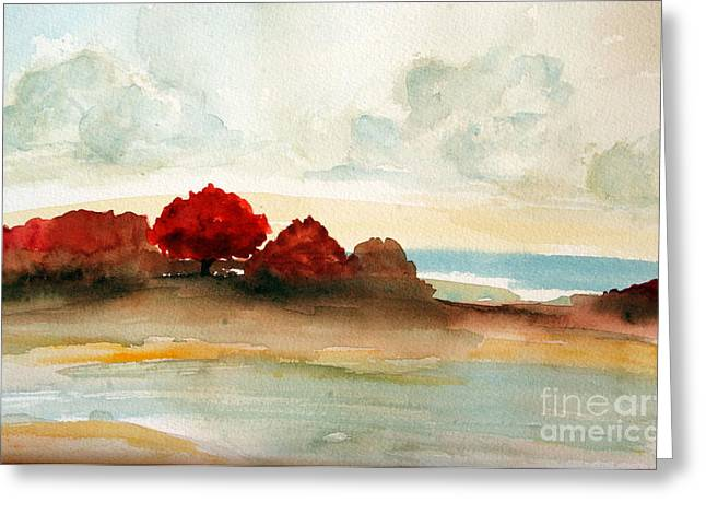 Watercolor bay Greeting Card by Julie Lueders