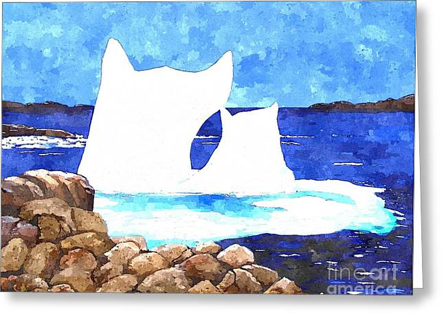 Night Cafe Digital Art Greeting Cards - Watercolor Icebergs  Greeting Card by Barbara Griffin