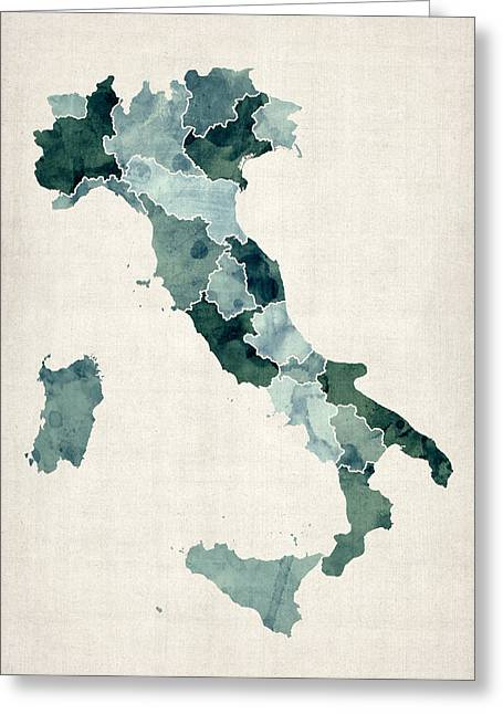 Region Greeting Cards - Watercolor Map of Italy Greeting Card by Michael Tompsett