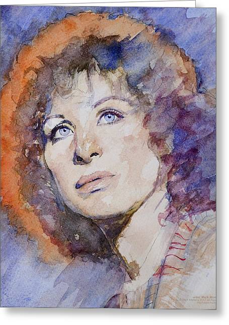 Hyper-realism Paintings Greeting Cards - Watercolor of Barbra Streisand SUPER HIGH RES  Greeting Card by Mark Montana