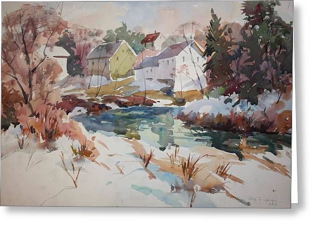 Millbury Greeting Cards - Watercolor Greeting Card by Peter Spataro