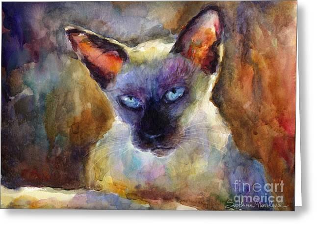 Siamese Cat Print Greeting Cards - Watercolor siamese cat painting Greeting Card by Svetlana Novikova