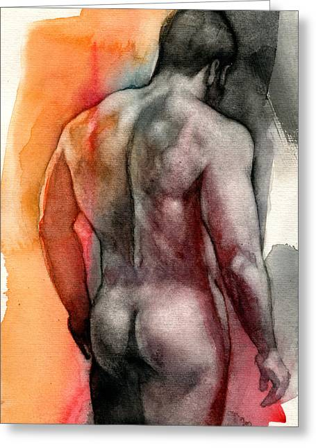 Naked Men Greeting Cards - Watercolor study 5 Greeting Card by Chris  Lopez