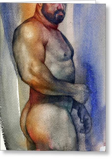 Naked Greeting Cards - Watercolor Study 9 Greeting Card by Chris  Lopez