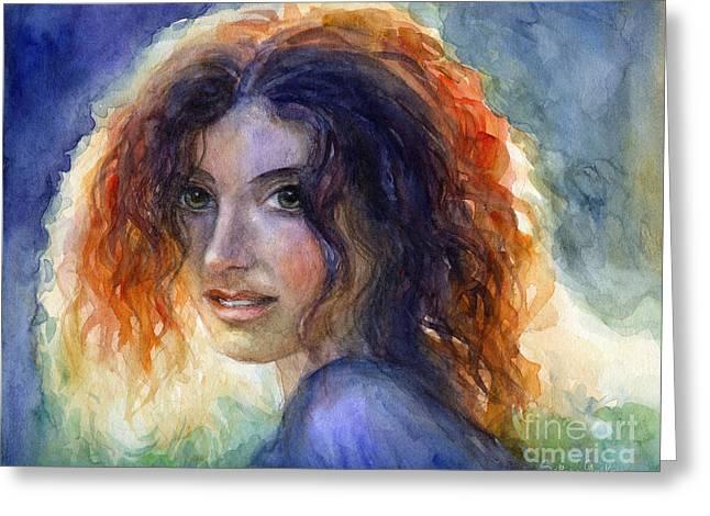 Custom Person Portrait Greeting Cards - Watercolor Sunlit Woman Portrait 2 Greeting Card by Svetlana Novikova