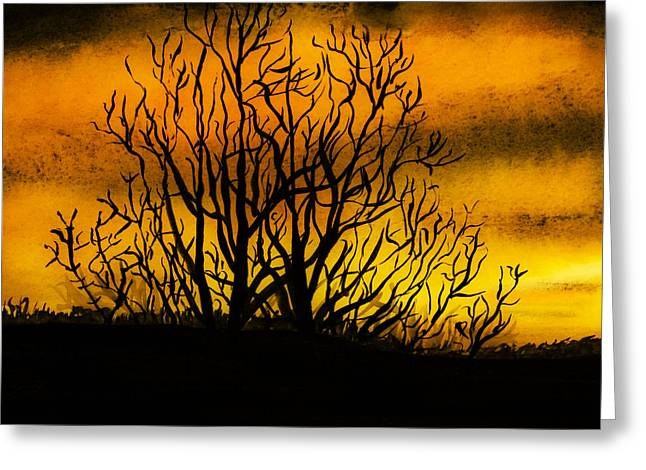 Sunrise Drawings Greeting Cards - Watercolour Sunset Greeting Card by Svetlana Sewell