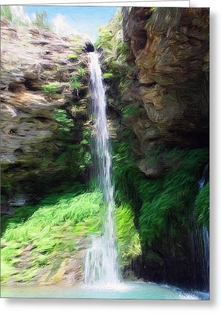 Oklahoman Greeting Cards - Waterfall 2 Greeting Card by Jeff Kolker