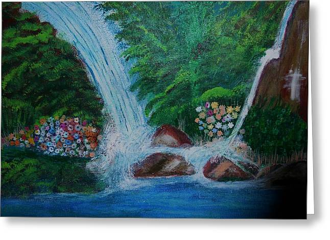 Nyc Posters Paintings Greeting Cards - Waterfall 3 Greeting Card by Suzanne Thomas