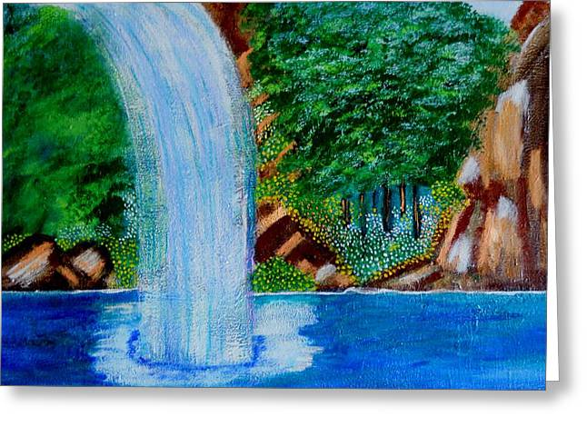 Nyc Posters Paintings Greeting Cards - Waterfall 4 Greeting Card by Suzanne Thomas