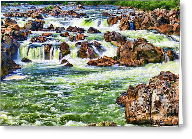 Rapids Greeting Cards - Waterfall Abstract Greeting Card by Olivier Le Queinec