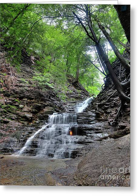 Eternal Flame Greeting Cards - Waterfall And Natural Gas Greeting Card by Ted Kinsman