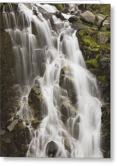 Ground Level Greeting Cards - Waterfall Flowing Over Rocks Greeting Card by Craig Tuttle