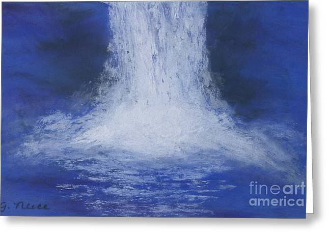 Waterfall Pastels Greeting Cards - Waterfall Greeting Card by Ginny Neece