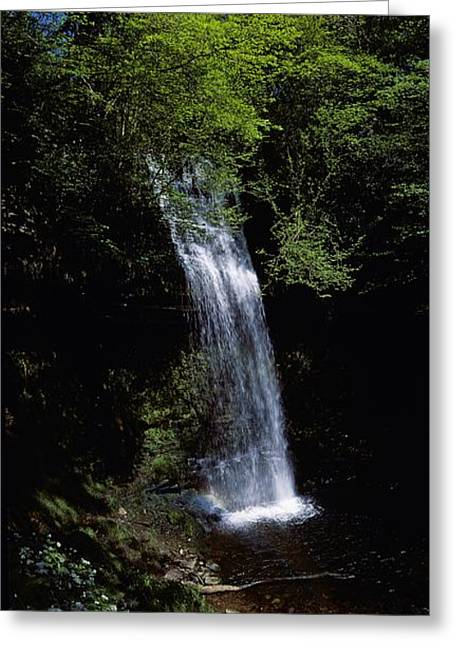 Clouds In Motion Greeting Cards - Waterfall In A Forest, Glencar Greeting Card by The Irish Image Collection