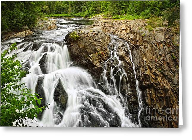 Waterfall in wilderness Greeting Card by Elena Elisseeva