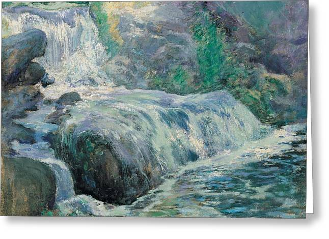 Rapid Paintings Greeting Cards - Waterfall Greeting Card by John Henry Twachman