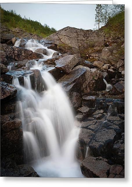 Dikovsky Greeting Cards - Waterfall Greeting Card by Konstantin Dikovsky