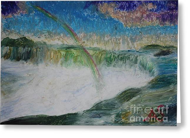 Waterfall Pastels Greeting Cards - Waterfall Over Niagra Falls Greeting Card by Alex  Shear